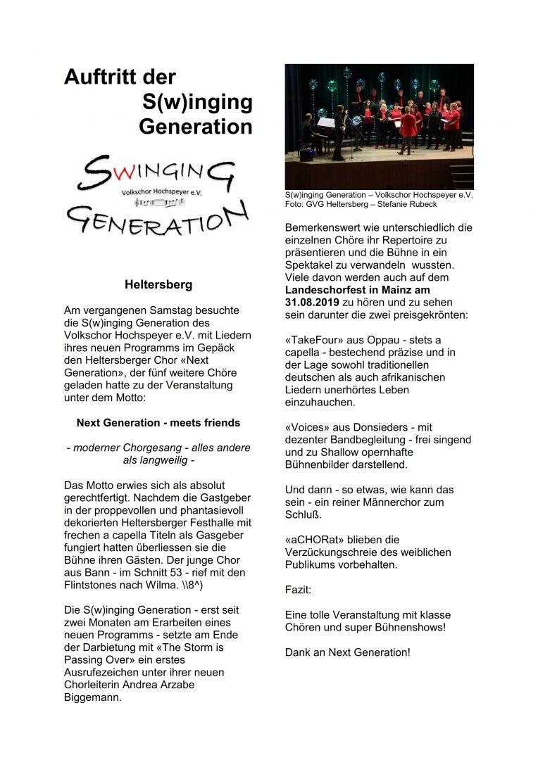 Bericht zu Next Generation ... meets friends