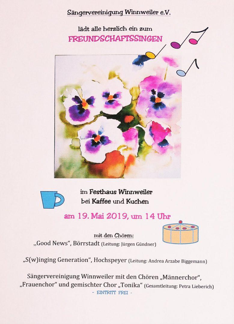 Plakat Freundschaftssingen Winnweiler